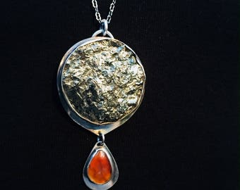 Pyrite and Red Agate Pendant