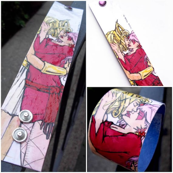 Jem And SheRa Lesbian Love Hand-painted Canvas Cuff With