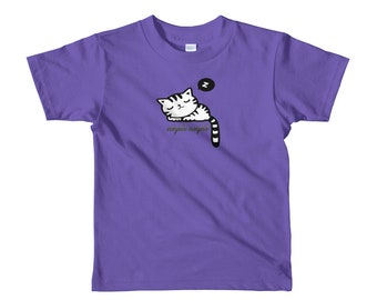 Night Night Sleeping Kitty Cat Short sleeve kids t-shirt