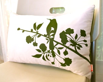 SALE Dark Olive Green Print on Off White Blooming Blossom Rectangle Pillow