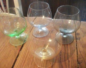 set of 4 VINTAGE  COGNAC / Liqueur / SHOT glasses miniature barware