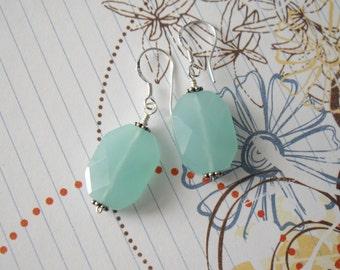 Sterling Silver Sea Foam Blue Chalcedony Faceted Earrings