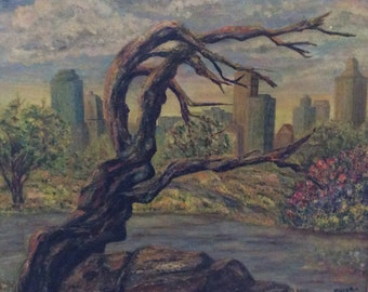 Martha Miller 1950 oil on board painting, city scape from park
