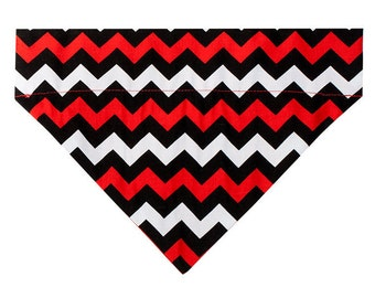 Chevron Dog Bandana Scarf in Red / Black / White