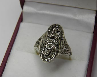 9ct and Silver Navette shaped Marcasite ring