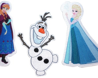 Frozen 3-pack Anna, Elsa, & Olaf Disney Movie Characters Iron On Applique Patch