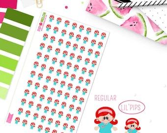 LIL' PIPS Girl Scrubs Red Hair/Light Skin Stickers | 96 Kiss-Cut Stickers | Female Doctor, Nurse, ob-gyn, Medical | IB006