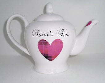 BN Fine Bone China, Personalised Teapot For Two, Pink Tartan Heart Design, Heart Teapot, China Teapot,  Boxed