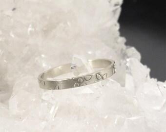 White gold wedding ring, Boho wedding ring, Stack wedding ring, Textured gold ring, Unique wedding band, 14k wedding ring, 18K wedding band