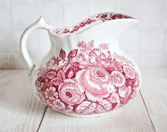 Gorgeous French ONNAING Ironstone Wash Pitcher || Antique White and Dark Pink Transferware Floral Decor - Shabby Chic Decor