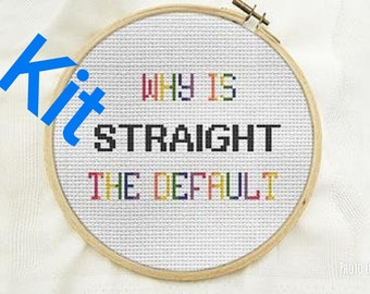 Love Simon Beginner cross stitch kit, modern cross stitch kit, LGBT why is straight the default, rainbow