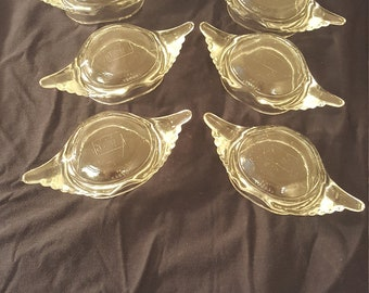 Set of 6 Vintage Glass Bake Crab dishes for Crab Imperial