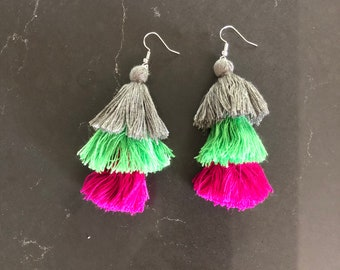 Fiesta pink tassel earrings