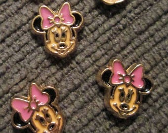 Lot of 8 Minnie Mouse Floating Locket Charms Gold tone
