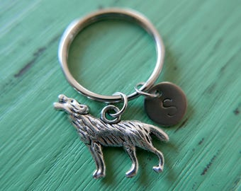 Wolf initial stainless steel Keyring