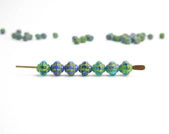 Blue and Green Fizgig Czech Glass Beads, (120 pcs) 6mm Blue Saucer Beads, Blue UFO Beads, Green Saturn Beads, Blue Saturn Beads FIZ0029