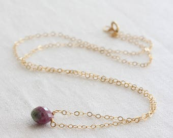 Ruby zoisite necklace - tiny gemstone necklace, ruby zoisite briolette, gold or silver chain, ruby zoisite jewelry, ruby zoisite pendant