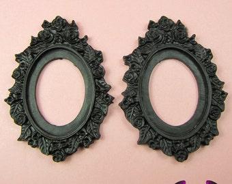 2 pcs 30x40mm Flower Resin Cameo Setting in Black