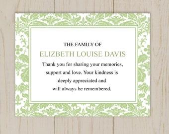 Damask Funeral Thank You Card  Printable Digital file
