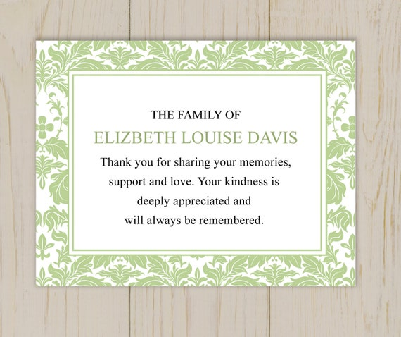 Damask Funeral Thank You Card Printable Digital File