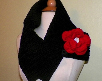 Black Red Cowl Scarf Infinity Button Neckwarmer Collar  With Flower Brooch Freeform Crochet