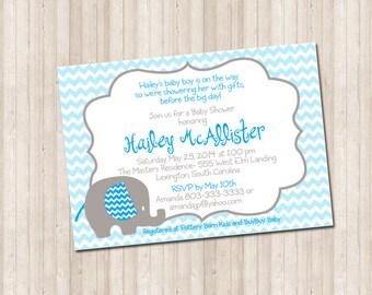 Custom Baby Shower Elephant Invitation- chevron blue & gray