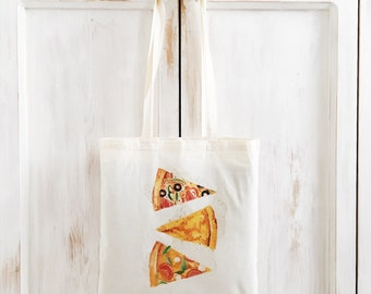 Pizza Tote Bag, Farmers Market Bag, Cotton Tote, Shopping Bag, Eco Tote Bag, Reusable Grocery Bag, Food, Junkfood
