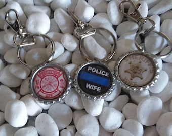 Police wife's  keychain, Thin Blue line