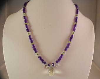 Green Amethyst Briolette and Purple Amethyst and Peridot Necklace