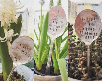 Garden Plant Markers vintage silver plated