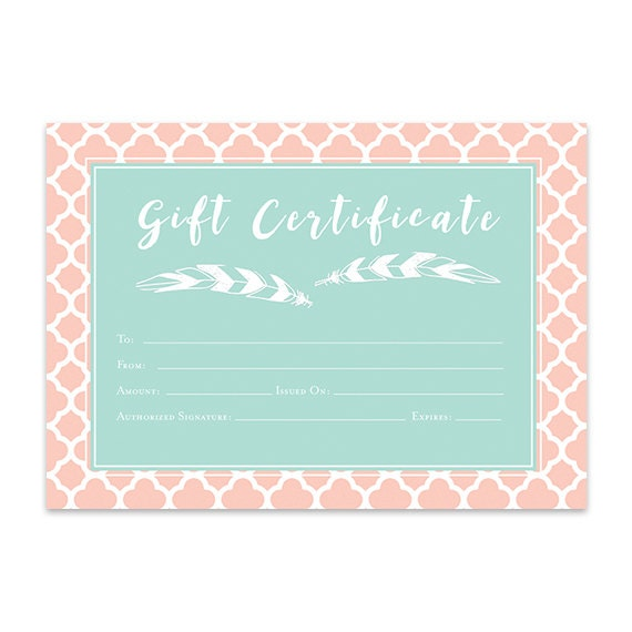 Pink Mint Green Geometric Gift Certificate Download Premade