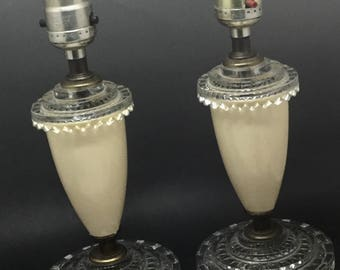 Set of Two Vintage Glass and Plastic Boudoir Lamps