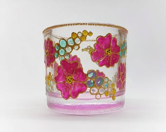 Candle holder hand painted, flowers, purple, decor, gift ideas