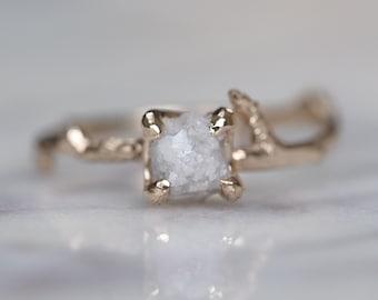 1.16 Carat Rough Diamond Branch Engagement Ring, 14k Yellow Gold