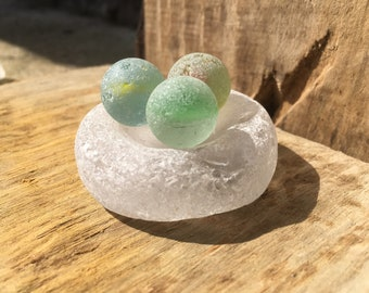 Cluster of 3 vintage sea tumbled marbles seaglass base