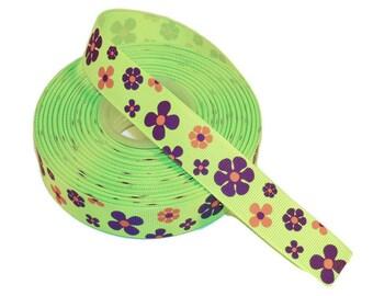 "5 YDS - High-Quality 7/8"" Purple & Orange Flowers on Lime Green Grosgrain Ribbon"
