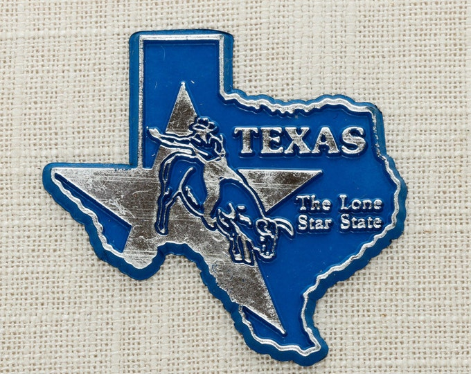 Texas Vintage State Magnet | Silver Travel Souvenir Tourism Summer Vacation | USA America The Lonestar State | Fridge Cowboys 5S