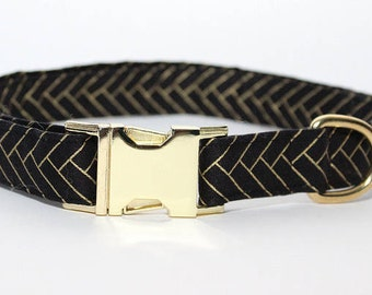 Black and Gold Herringbone Collar