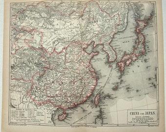 Original 1877 Map of China & Japan by Meyers. Antique Original