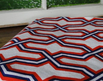 Cohama Geometric Red, White and Blue Vintage Fabric - One Yard