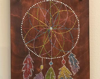 Dream Catcher Dot Painting on wood