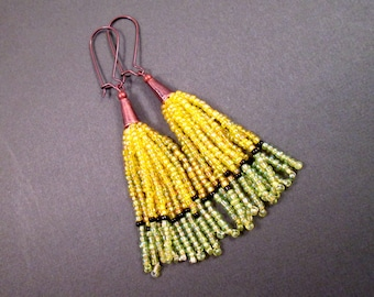 Tassel Earrings, Yellow Green and Black, Ombre Glass Seed Beaded Fringe Earrings, Copper Dangle Earrings, FREE Shipping U.S.