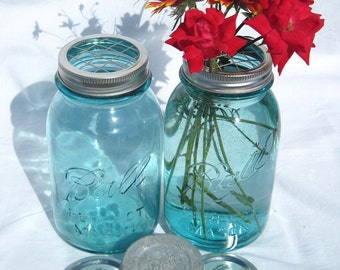 Mason Jar Vase Flower Frog Lid Antique Blue Mason Jars, Ball Zinc Lid, 2 Flower Centerpiece Vases, Weddings, Handmade Flower Frog Lids