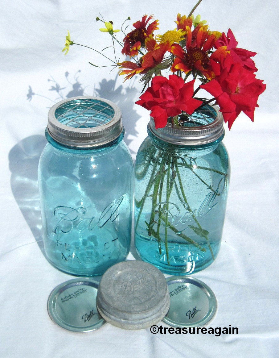 Mason jar vase flower frog lid antique blue mason jars ball zoom reviewsmspy