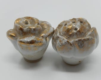 Pair of Saleron, rose gold porcelain button covered with gold, Free Shipping