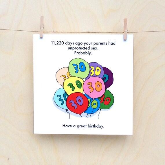 Funny 30th Birthday Card Funny 30 Birthday Funny