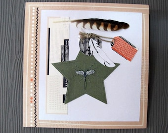 """Table """"feathers and insect"""" salmon and green"""