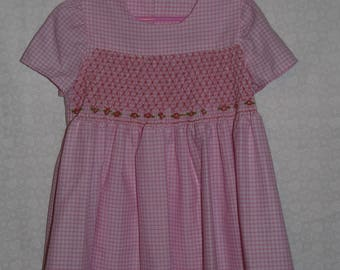 Pink Chequer Dress with Smocked Waist
