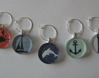 Fun Nautical Themed Glass Tile Wine Charms Set of 5