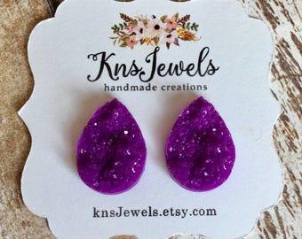 Custom Teardrop Earrings, Teardrop Studs, 16mm Studs, Pick your Color, Druzy Teardrops, Druzy Earrings